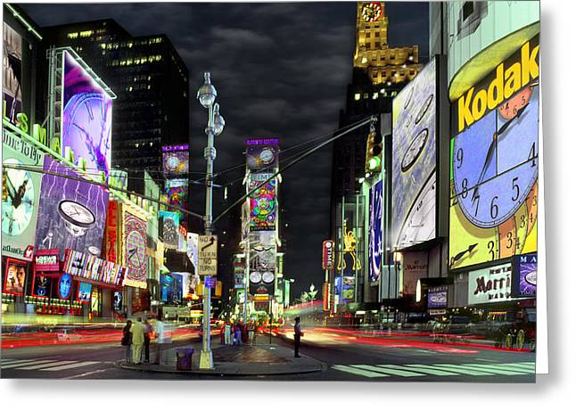 Times Square Digital Art Greeting Cards - The Real Time Square Greeting Card by Mike McGlothlen