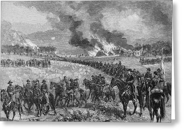Shenandoah Valley Greeting Cards - The Rear-guard General Custers Division Retiring From Mount Jackson, October 7th 1864, Illustration Greeting Card by Alfred R. Waud