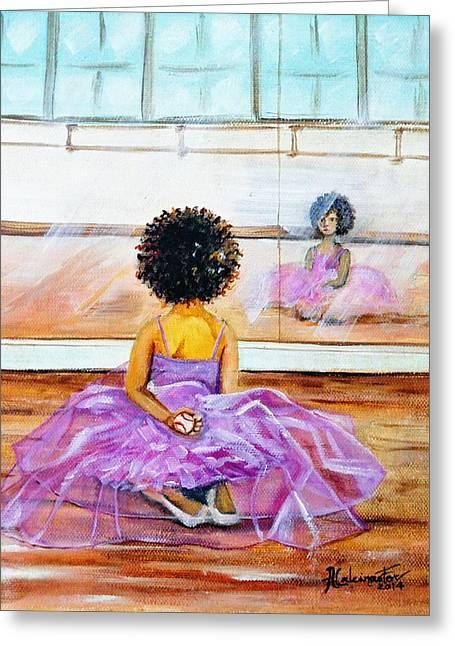 Baseball Print Paintings Greeting Cards - The Rebel Ballerina Greeting Card by Adriana Fox