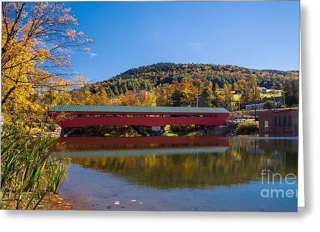 The Rebuilt Taftsville Covered Bridge Greeting Card by New England Photography