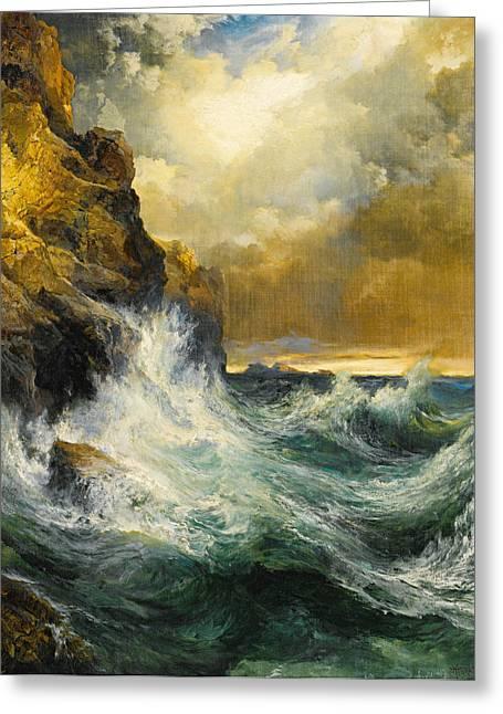 Moran Greeting Cards - The Receding Wave Greeting Card by Thomas Moran