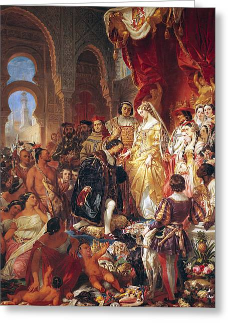 The Reception Of Christopher Columbus By Ferdinand II Of Aragon And Isabella Greeting Card by Eugene Deveria