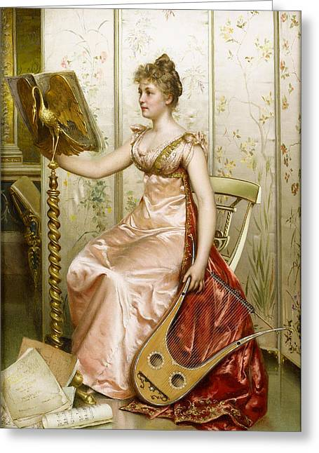 Woman In A Dress Greeting Cards - The Recital Greeting Card by Frederick Soulacroix