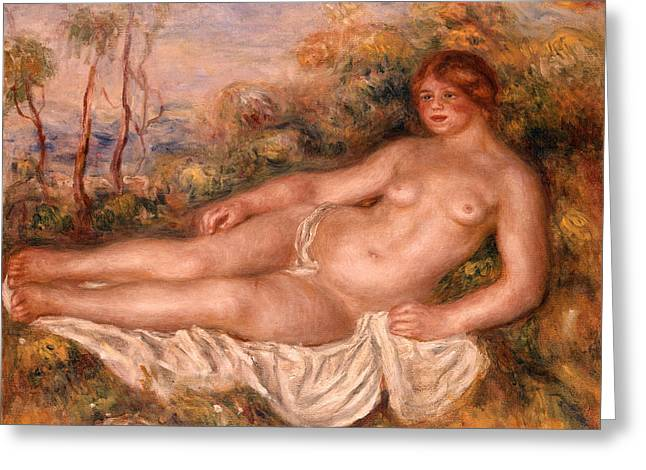 Renoir Paintings Greeting Cards - The Reclining Bather 1906 Greeting Card by Pierre Auguste Renoir