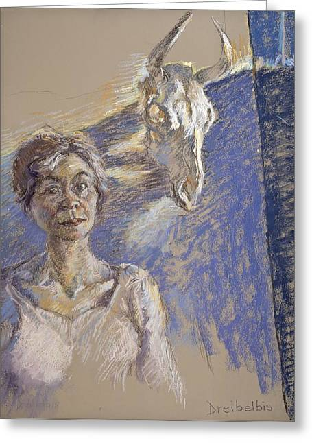 Self Portrait Pastels Greeting Cards - The Recognition of Limits Greeting Card by Ellen Dreibelbis