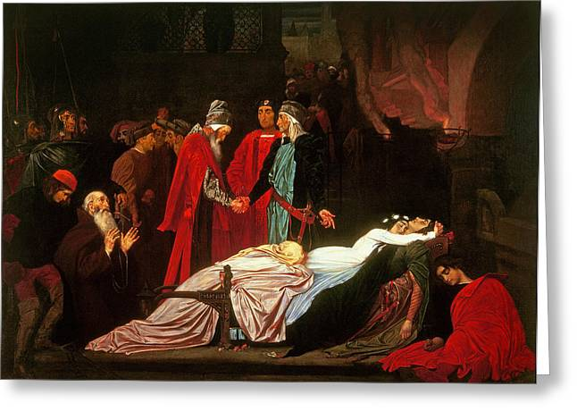 Shaking Hands Greeting Cards - The Reconciliation Of The Montagues And The Capulets Over The Dead Bodies Of Romeo And Juliet Oil Greeting Card by Frederic Leighton