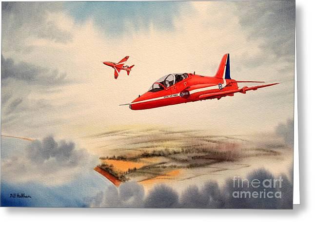 Raf Greeting Cards - The Red Arrows - BAe Hawk T1A Greeting Card by Bill Holkham
