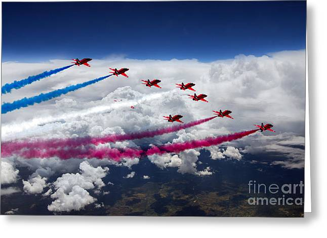 Red White And Blue Digital Greeting Cards - The Red Arrows Flight  Greeting Card by J Biggadike