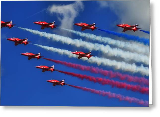 Colorful Cloud Formations Greeting Cards - The Red Arrows of the British Royal Air Force Greeting Card by Mountain Dreams
