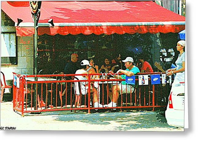 Rue Prince Arthur Greeting Cards - The Red Awning Cafe On St. Denis - A Shady Spot To Enjoy A Cold Beer On A Very Hot Sunday In July Greeting Card by Carole Spandau