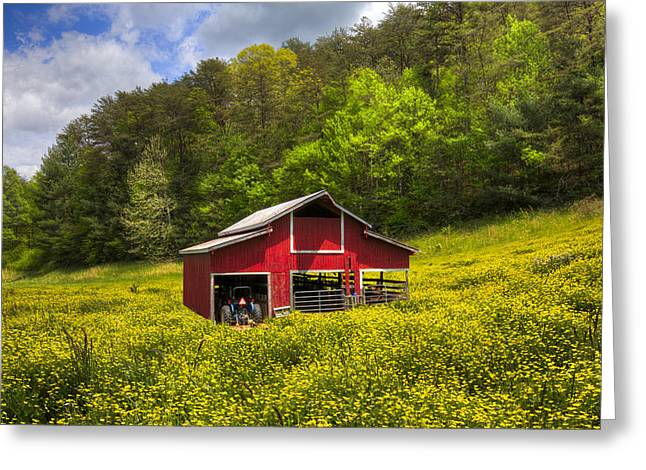 Tennessee Farm Greeting Cards - The Red Barn Greeting Card by Debra and Dave Vanderlaan