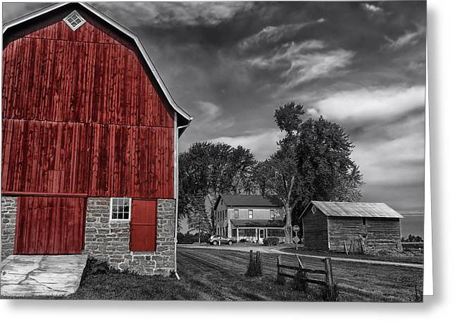 Wisconsin Landscape Greeting Cards - The Red Barn Greeting Card by Mountain Dreams