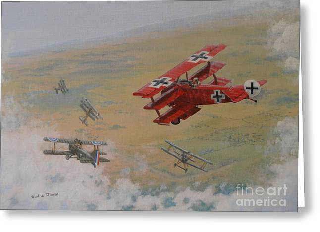 Fighters Greeting Cards - The Red Baron Greeting Card by Elaine Jones