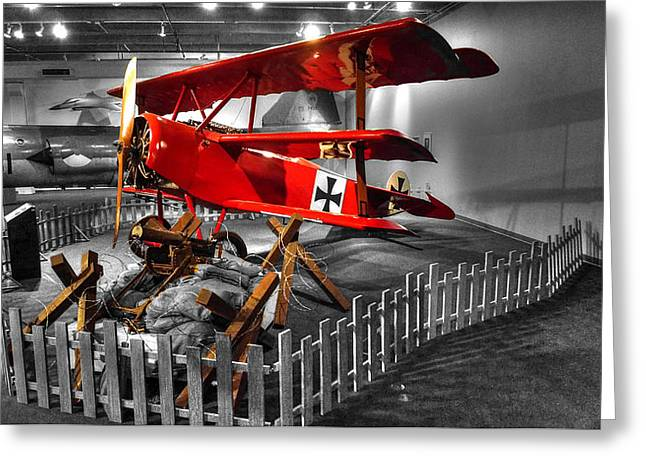 Ww1 Greeting Cards - The Red Baron Fokker Dr. I  Ver2 Greeting Card by John Straton