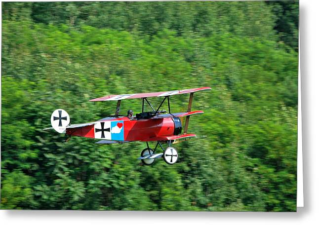 Fokker Dr-1 Greeting Cards - the Red Baron Greeting Card by Kurt Von Dietsch