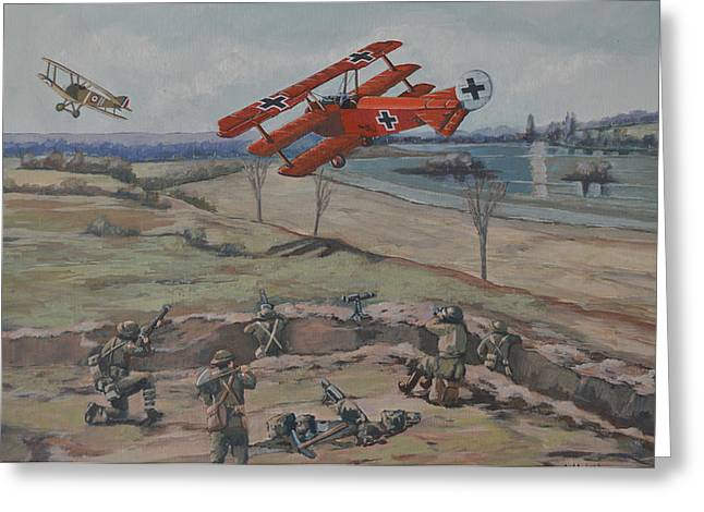 World War One Paintings Greeting Cards - The Red Barons last combat Greeting Card by Murray McLeod