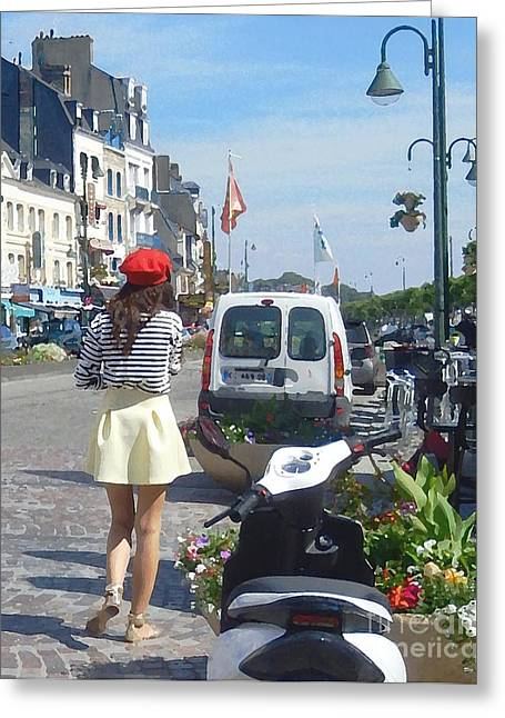 The Red Beret Honfleur France Greeting Card by Ann Johndro-Collins