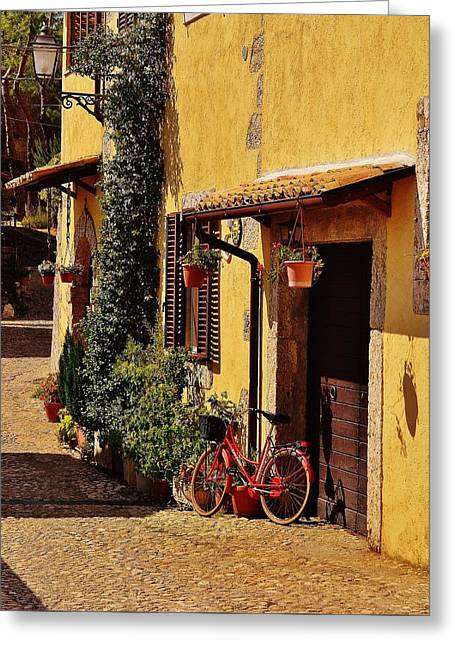Frontdoor Greeting Cards - The Red Bicycle Greeting Card by Dany  Lison