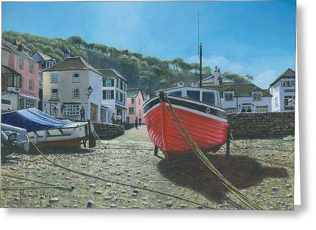 Realist Prints Greeting Cards - The Red Boat Polperro Corwall Greeting Card by Richard Harpum