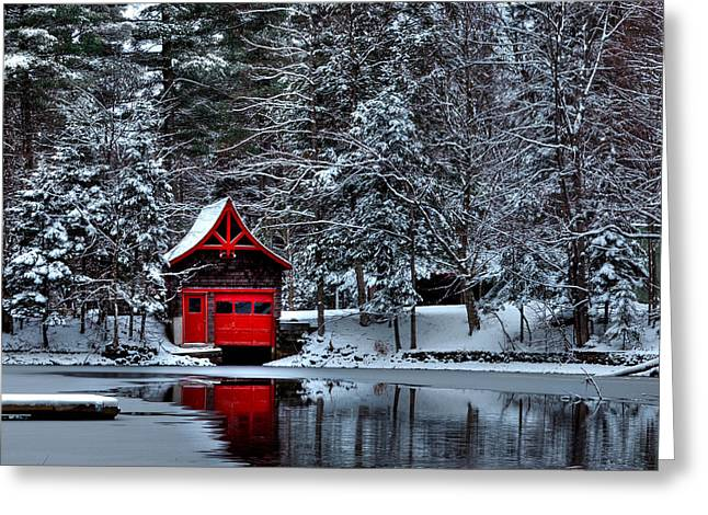 Patterson House Greeting Cards - The Red Boathouse Greeting Card by David Patterson