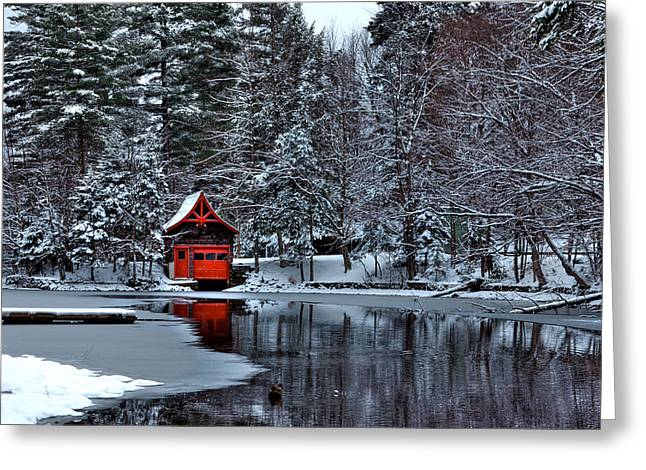 Patterson House Greeting Cards - The Red Boathouse - Old Forge NY Greeting Card by David Patterson