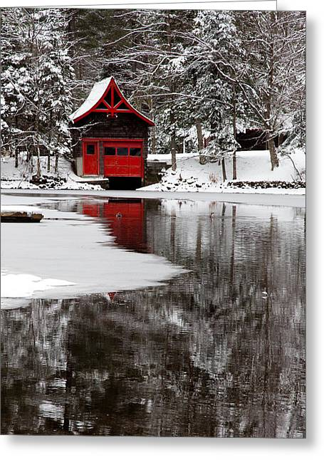 Patterson House Greeting Cards - The Red Boathouse on Beaver Brook Greeting Card by David Patterson