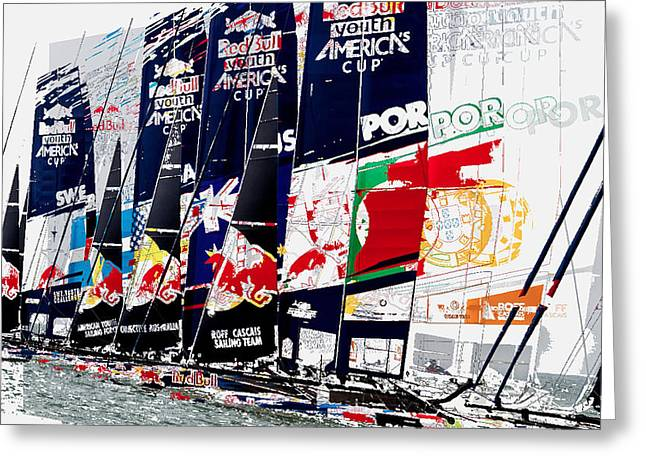 Yachting Mixed Media Greeting Cards - The Red Bull Youth Americas Cup The Start Greeting Card by John Mangino