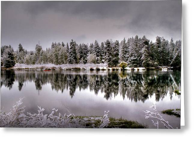 Grey Clouds Greeting Cards - The Red Canoe Greeting Card by Donna Kennedy