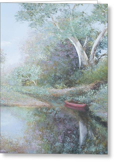 Reflections In River Greeting Cards - The Red Canoe Greeting Card by Jan Matson