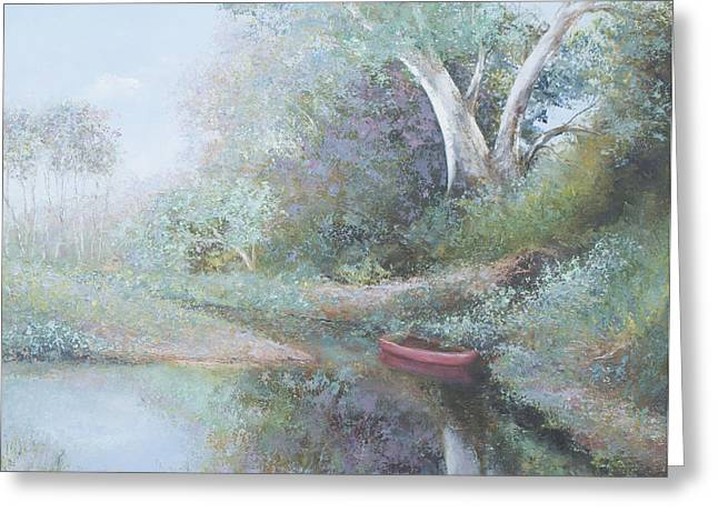 Reflections Of Trees In River Greeting Cards - The Red Canoe Greeting Card by Jan Matson