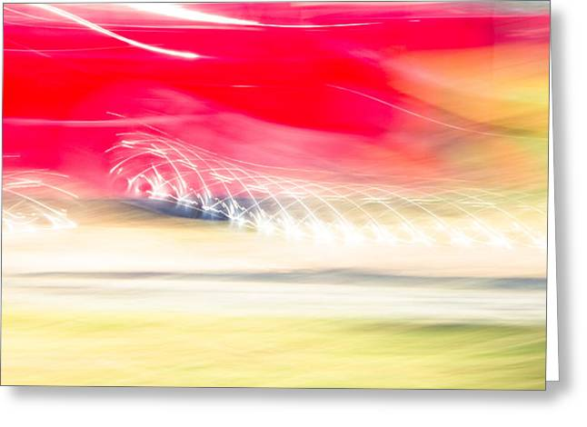 Abstract Movement Greeting Cards - The Red Car Greeting Card by Sharon Wilkinson