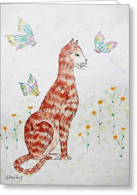 Moggy Greeting Cards - The Red Cat Greeting Card by Gillian Short