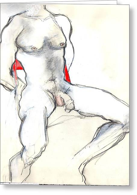 Homoerotic Mixed Media Greeting Cards - The Red Chair - male nude Greeting Card by Carolyn Weltman