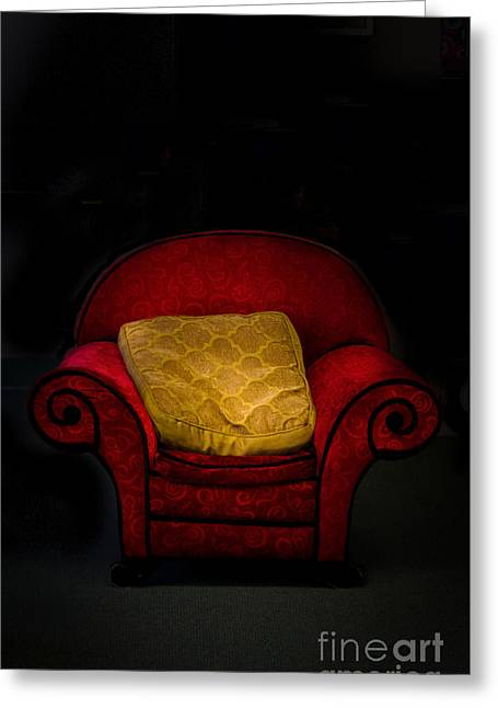 Cushion Greeting Cards - The Red Chair Greeting Card by Mitch Shindelbower