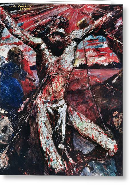 The Sun God Paintings Greeting Cards - The Red Christ Greeting Card by Lovis Corinth