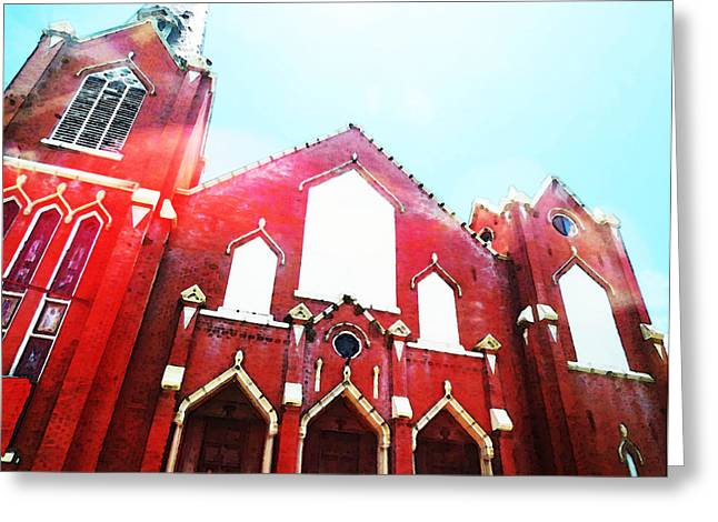 Old Churches Greeting Cards - The Red Church By Sharon Cummings Greeting Card by Sharon Cummings