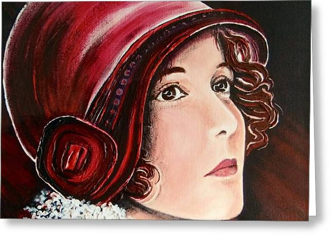 Wishes Greeting Cards - The Red Cloche Greeting Card by Barbara Chase