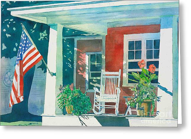 Porch Greeting Cards - The Red Cottage Greeting Card by LeAnne Sowa
