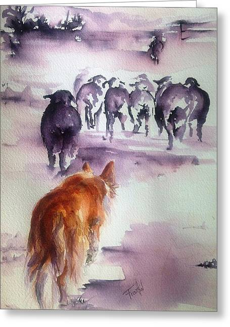 Trial Mixed Media Greeting Cards - The Red Dog Greeting Card by Leslie Franklin