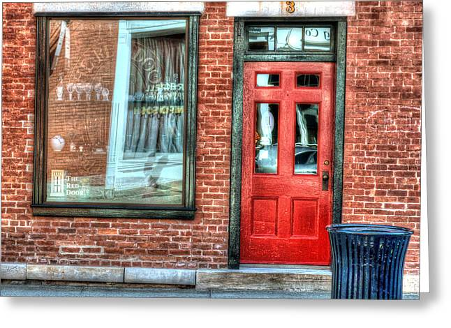 New England Village Greeting Cards - The Red Door - Great Barrington Greeting Card by Geoffrey Coelho