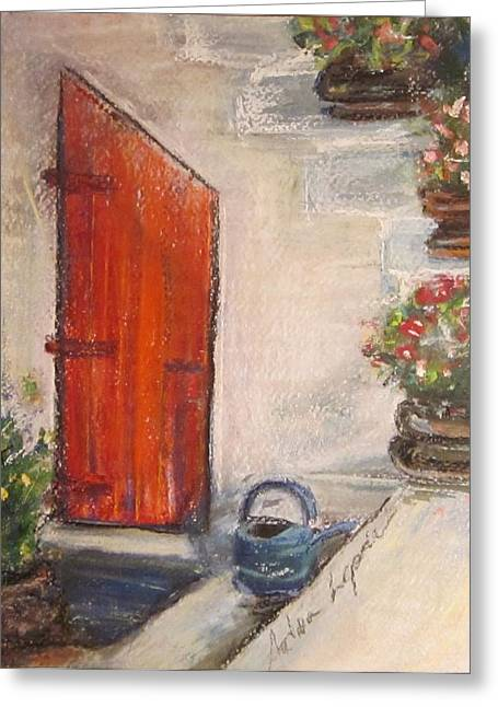 Old Door Pastels Greeting Cards - The Red Door Greeting Card by Andrea Flint Lapins