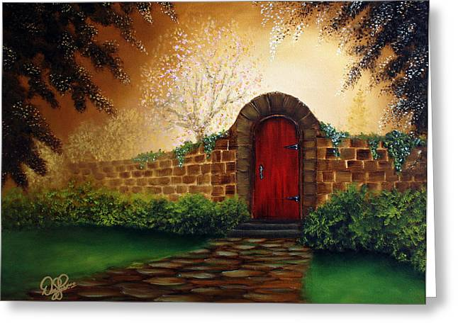 Recently Sold -  - Kinkade Greeting Cards - The Red Door Greeting Card by David Kacey