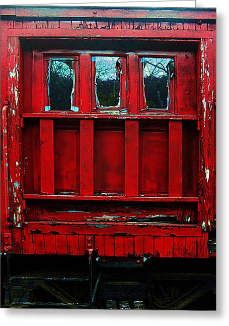 Caboose Pyrography Greeting Cards - The Red Door Greeting Card by David Walker