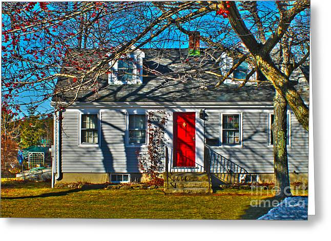 Old Maine Houses Greeting Cards - The red door house Greeting Card by Claudia Mottram