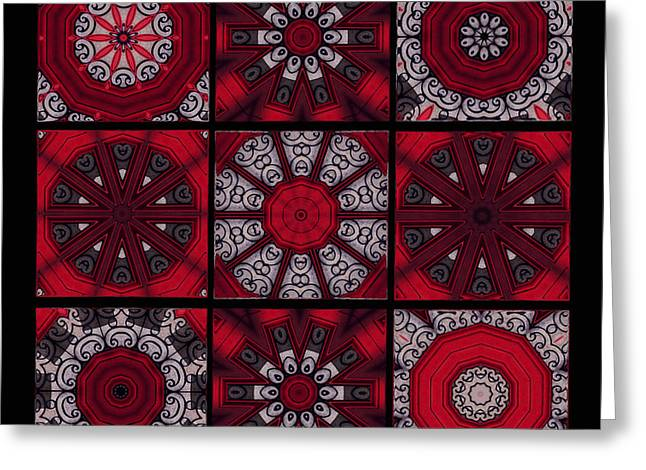 Ceramic Digital Greeting Cards - The Red Door Tiles Greeting Card by Mary Machare