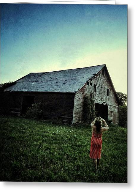 Red Dress Greeting Cards - The Red Dress and The Abandoned Barn Greeting Card by Natasha Marco