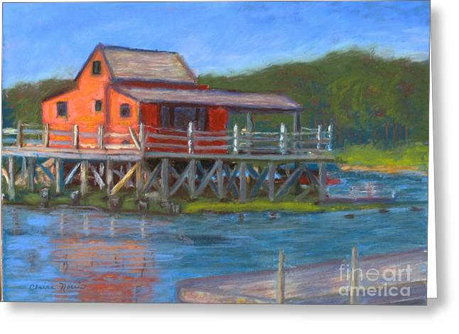 Ocean Scenes Pastels Greeting Cards - The Red Fish House Greeting Card by Claire Norris