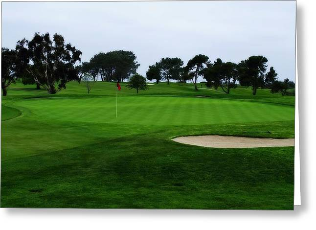 The Tiger Greeting Cards - The Red Flagstick-Torrey Pines Greeting Card by See My  Photos