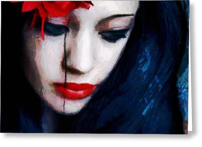 Sorrow Greeting Cards - The red flower Greeting Card by Gun Legler