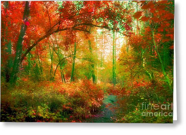 Overhang Greeting Cards - The Red Forest Greeting Card by Tara Turner
